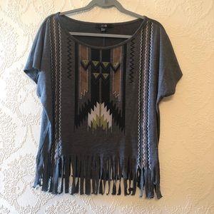 Boho T shirt Fringe